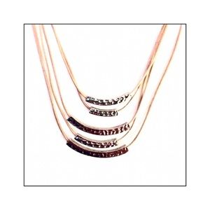 Lia Sophia Multi Cord Floating Silver Bar Necklace